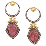 Pink Tourmaline Portrait Earrings FULL